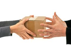 Parcel delivery close-up on white background stock image
