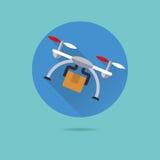 Parcel delivery drone flat design vector icon. Parcel drone flat design long shadow vector icon Stock Photo