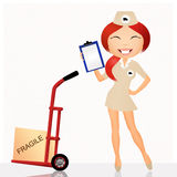 Parcel delivery girl. Illustration of parcel delivery girl Royalty Free Stock Photography