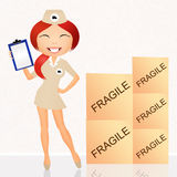 Parcel delivery girl. Illustration of parcel delivery girl Stock Image