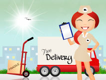 Parcel delivery girl Stock Image