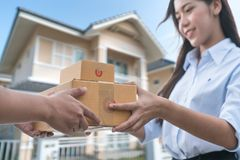 Parcel delivery with good depth of field Stock Photos