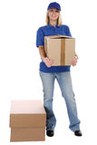 Parcel delivery service box package woman order delivering job f Stock Photography