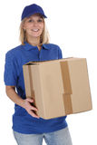 Parcel delivery service box package woman order delivering job y Stock Photography