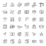 Parcel delivery service icon set. Fast delivery and quality service transportation. Shipping vector icons for logistic company Stock Photos