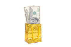Parcel and dollars Stock Photo