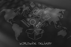 Parcel with fashion objects coming out of it over world map over Royalty Free Stock Photos