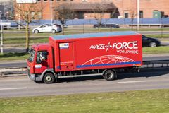 Parcel Force Worldwide delivery van lorry stock photo