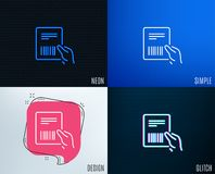 Parcel invoice line icon. Delivery document. Glitch, Neon effect. Parcel invoice line icon. Delivery document sign. Package shipping symbol. Trendy flat Royalty Free Stock Photo