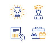 Parcel invoice, Student and Trophy icons set. Surprise boxes sign. Vector. Parcel invoice, Student and Trophy icons simple set. Surprise boxes sign. Delivery vector illustration