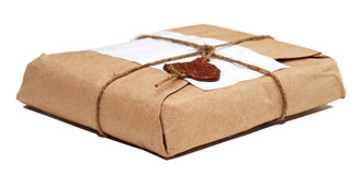 Parcel isolated on white Royalty Free Stock Photography