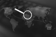 Parcel with magnifying glass travelling the world from the shop. Track your shipment concept: parcel travelling the world from the shop to the recipient`s home Royalty Free Stock Image