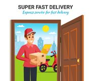 Parcel Motorcycle Courier Delivery Illustration. Fast express delivery service with smiling motorcycle courier holding parcel box at customer door colorful royalty free illustration