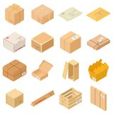 Parcel packaging box icons set, isometric style. Parcel packaging box icons set. Isometric illustration of 16 parcel packaging box vector icons for web vector illustration