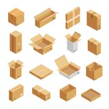 Parcel packaging box icons set, isometric style. Parcel packaging box icons set. Isometric illustration of 16 parcel packaging box icons for web royalty free illustration