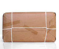 Parcel packet. Over a white background with reflection Stock Photography