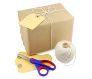 Parcel with packing necessities Stock Photography