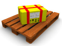 The parcel on the pallet Stock Photography