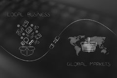 Parcel with products and world map with shopping basket with plu Royalty Free Stock Photos