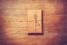 Parcel in retro packaged Stock Photography