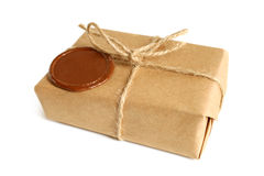 Parcel with sealing wax Stock Photography
