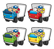 Parcel Service Character are the phone calls of the truck driver Royalty Free Stock Images