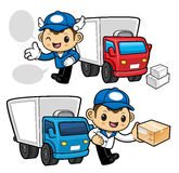 Parcel Service Character and transporter. Stock Photos