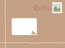Parcel with stamp and label stock illustration