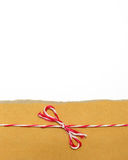 Parcel tied with string with white copy space Royalty Free Stock Images