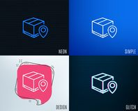 Parcel tracking line icon. Delivery monitoring. Glitch, Neon effect. Parcel tracking line icon. Delivery monitoring sign. Shipping box location symbol. Trendy Stock Image