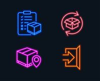 Parcel tracking, Parcel checklist and Exit icons. Package location pin, Logistics check, Exchange of goods. Neon lights. Set of Parcel tracking, Parcel Stock Photo