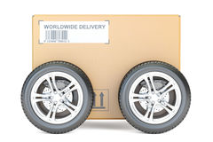 Parcel with wheels, fast delivery concept. 3D rendering Royalty Free Stock Photos