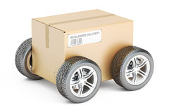 Parcel with wheels, fast shipping concept. 3D rendering Royalty Free Stock Images