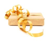 Parcel wrapped. Small parcel wrapped in brown packing paper, tied with twine stock images