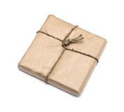 Parcel wrapped with brown kraft paper Stock Image