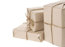 Parcel wrapped with brown paper Royalty Free Stock Photography