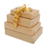 Parcel wrapped with brown paper Royalty Free Stock Photo