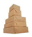 Parcel wrapped with brown paper Royalty Free Stock Image