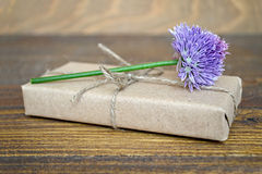 Parcel  wrapped in brown paper and chive flower Stock Image