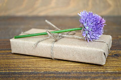 Parcel  wrapped in brown paper and chive flower Stock Photos