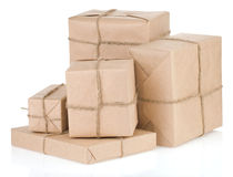 Parcel wrapped with brown paper tied rope Stock Photos