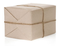 Parcel wrapped isolated on white Stock Photography
