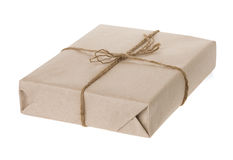 Parcel wrapped isolated on white background Royalty Free Stock Images