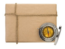 Parcel wrapped packaged box on white Stock Photography