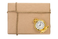 Parcel wrapped packaged box on white Royalty Free Stock Images