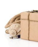 Parcel wrapped packaged box on white Stock Image