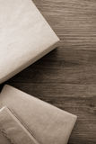Parcel wrapped packaged box on wood Royalty Free Stock Photos
