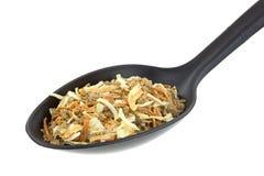 Parcela de mistura de sopa da cebola na colher Imagem de Stock