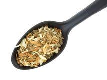 Parcela de mistura de sopa da cebola na colher Imagem de Stock Royalty Free