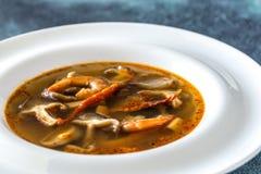 Parcela de sopa tailandesa de tom yum fotografia de stock